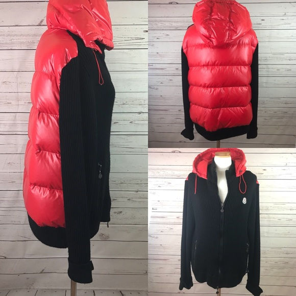 Moncler Other - Moncler Black & Red Puffer - Knit Jacket Sz 2XL